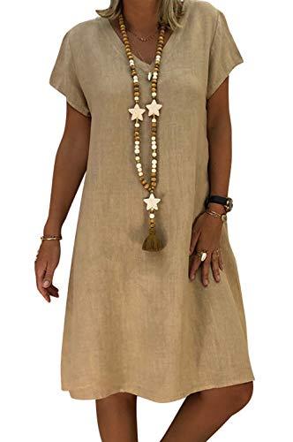 MAGIMODAC Baumwoll Leinenkleid Leinen T Shirt Kleid Tunikakleid Freizeitkleid Shirtkleid Longshirt Longbluse 32 34 36 38 40 42 44 46 (Khaki, Etikett 5XL/EU 46) - Khaki T-shirt Kleid