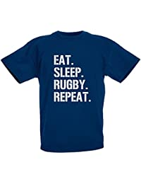 loltops Eat Sleep Rugby repeat Gift T-Shirt For Boys, Kids by