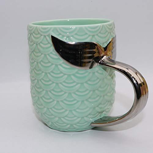 AICUP Keramik Gold Meerjungfrau Becher Morgen Becher Pink Mint Green PorzellantassenAnti-Hot Frühstück Milch Kaffee Tee Geschenk Golden Cup 420Ml