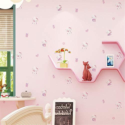 (LYRLHY Warme Kinderzimmer Hellokitty Tapete Vliestapete Wasserdichte Wandaufkleber Grün Wandbild Schlafzimmer Hintergrund)