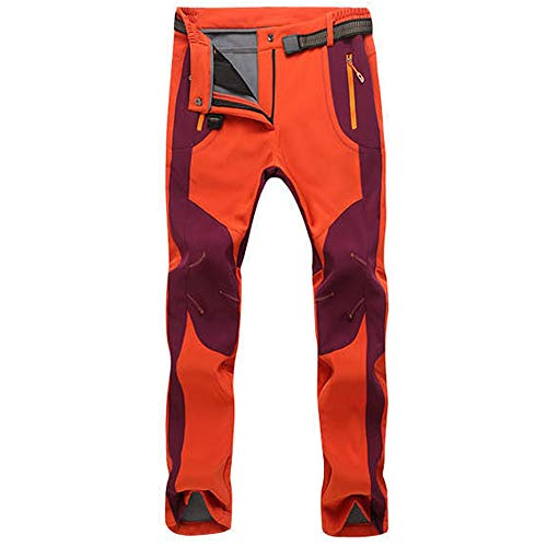 Anney Damen Softshellhose Wasserdicht Winddicht Atmungsaktiv Outdoor Wandern Warme Winterhose Hose Bergsteigen Funktionshose Trekkinghose Kampfhose Arbeitshosen (Orange,M)