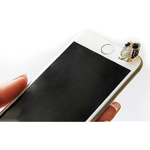 Teléfono móvil de la joyería del buho del diamante colgante del teléfono del auricular del enchufe de gato [Microsoft Lumia, iPhone, Samsung, Nokia, HTC UNO SONY XPERIA, Huawei, LG, Apple, Negro Berry, MOTOROLA,