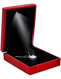 LED Light Propose Ring Caja de Joyería Colgante Collar Caja de Regalo de Boda, Caja Colgante Rojo