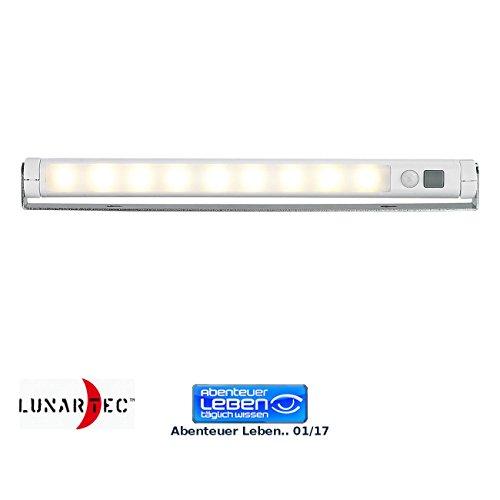 Lunartec LED Leiste Batterie: Automatische LED-Lichtleiste mit Bewegungssensor, warmweiß (LED Treppenbeleuchtung ohne Kabel)