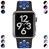 Hamile Correa para Apple Watch 42mm 44mm, Doble Color Pulsera de Repuesto de Silicona Suave Transpirable Correa para Apple Watch Series 5/4/3/2/1, M/L Negro/Azul