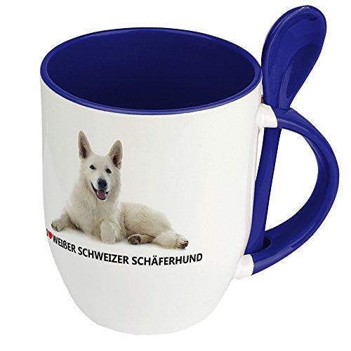 Hundetasse Weißer Schweizer Schäferhund - Löffel-Tasse mit Hundebild Weißer Schweizer Schäferhund - Becher, Kaffeetasse, Kaffeebecher, Mug - Blau (Weiß Blau Mugs)