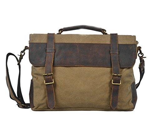 Y-double borsa vintage briefcase computer università lavoro con tracolla da uomo in vera pelle anticata e tessuto ultraresistente per pc di 13 -14 pollici