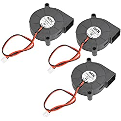 YOTINO 3 Pièces DC 12V Ventilateur pour Imprimante 3D, Ventilateur 3D 50 x 50 x 15mm Noir