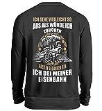 Lokomotive Shirt · Geschenk für Eisenbahn-Fans · Zug · Züge · Spruch: In Gedanken Bin ich - Unisex Pullover -3XL-Jet Schwarz