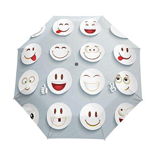 BENNIGIRY Paraguas de Viaje Resistente al Viento, con Expresiones de Dibujos Animados, Cierre automático, Plegable, Resistente, Compacto, Paraguas, Mujer, Multi#001, Talla única