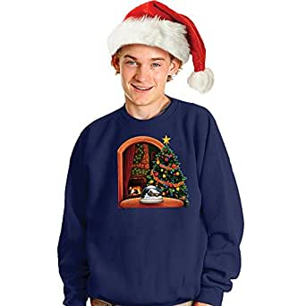 Snowing Snowglobe Adult Christmas Sweater (S, Blue)