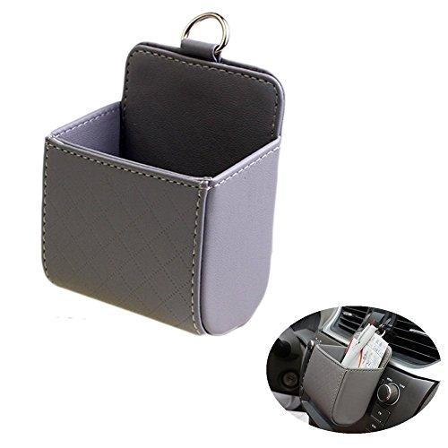 Chytaii Kunstleder Auto Klimaanlage Ausgang Tasche Sack Beutel Für Handy Schlüssel Geldbeutel Tassen Cubby Box (Grau) -