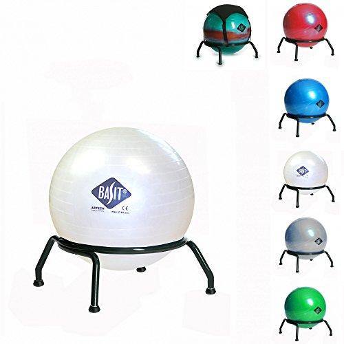 BASIT® Easy Gesundheitsstuhl Bürostuhl + Gymnastikball Kinderstuhl Sitzballstuhl Ballstuhl für Kinder, mit Bodengleitern für festen Stand, Farbe:weiss