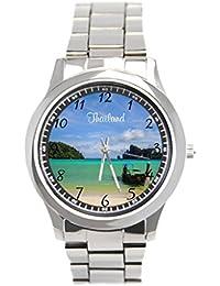 blue5 relojes Tailandia viajar playa foto con barco de pesca de acero inoxidable relojes de pulsera