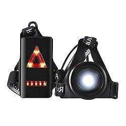 Wiederaufladbare Lauflampe,Welltop Sports Lauflicht LED USB Running Light mit 3 Beleuchtungsmodi für Läufer Jogger Sport im Freien Gehen Angeln Camping Wandern Klettern