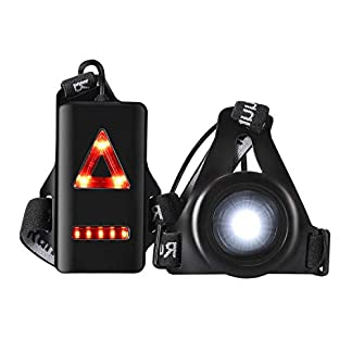 welltop Running Light Lamp, LED Chest Light USB Rechargeable Body Lamp 3 Modes with Taillight and Adjustable Strap for Night Runners Joggers Walking Camping Hiking 8