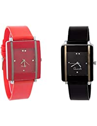 Exotica Watch With Square Dial |Combo Of 2 Watch | Attractive Look | Black & Red Colored Dial & Belt | Casual...