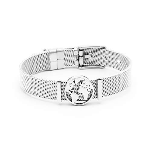 THIORA® - Mesh Armband Damen | Individuelle Anhänger Charms | Edelstahl | Weltkarte | Charmband Set Frauen | Worldmap Bracelet (One World - Silber)