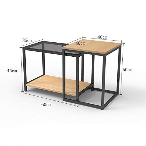 Laptopständer DD Satz Von 2 Couchtische Holz Sofa Tische Für Wohnzimmer Runde Satztische Set Beistelltische Für Balkon Lesetische Für Kinder Mit -Werkbank (Farbe : Yellow Oak - Retractable Edge)