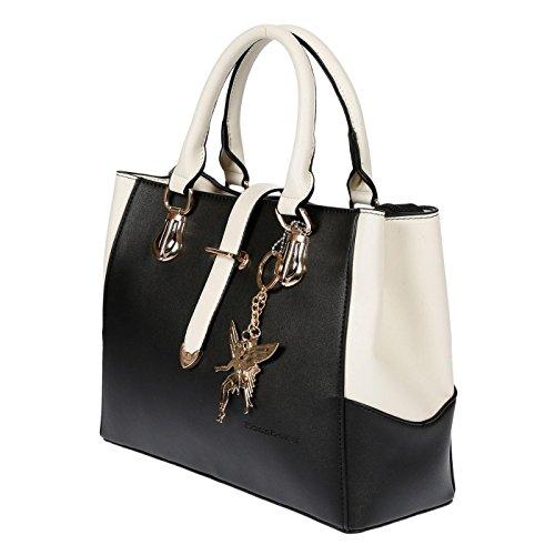 Kossberg Damen Henkeltasche schwarz weiß Handtasche Fashion Edel