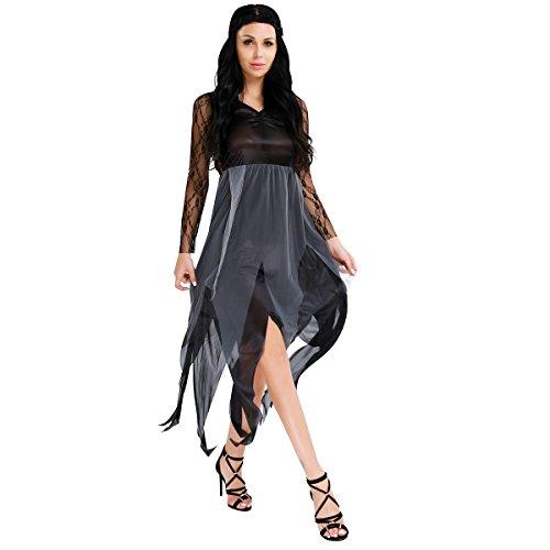 FEESHOW Damen Kostüm Hexe Cosplay Kleid mit einem Schwarzen Spitze Haarband für Halloween Kaneval Schwarz (Lage Geist Halloween)