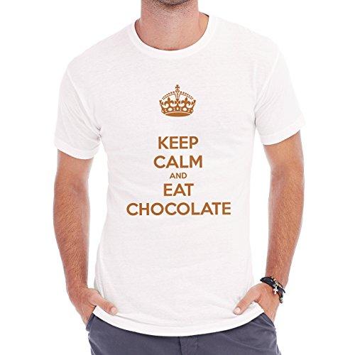 Keep Callm And Eat Chocolate Herren T-Shirt Weiß
