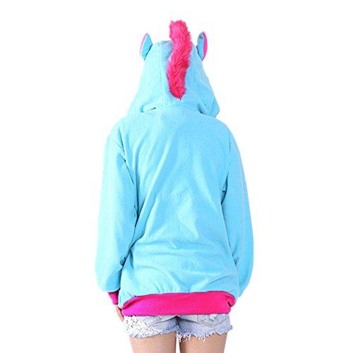 Unisex Einhorn Pullover Unicorn Kapuzenpullover Sweatjacke Cosplay Kostüm Halloween Geschenke für Erwachsene, Frauen, Männer Blau