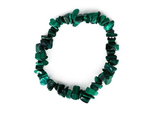 Taddart minerals - bracciale splitter verde in malachite naturale su filo di nylon elastico - fatto a mano.