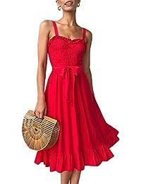 c7c4335e8047f3 Angashion Damen Sommerkleid Swing Blumenkleid Verstellbarer Spaghettiträger  Strandkleid A…