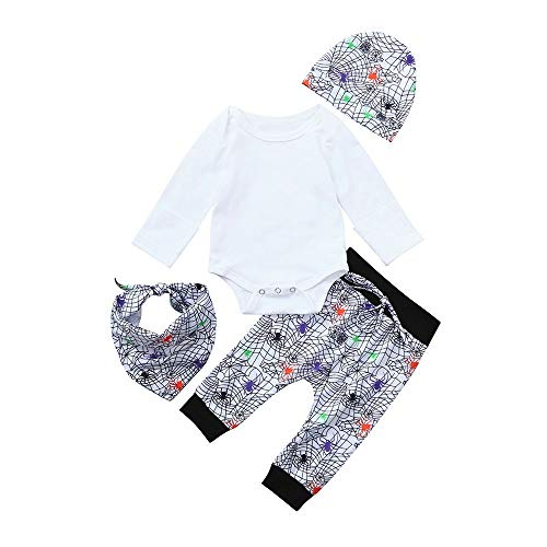6 Flower Mädchen-top (LANWINY Neugeborenes Baby Halloween Feste Strampler Tops Prin Hosen Cap Lätzchen Halloween Outfits Kleidung Set(6-24 Monat))