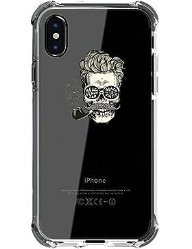 Funda iPhone X, Croazhi® iPhone X protección de esquinas reforzadas Transparente Suave TPU Caso Divertido Diferente...