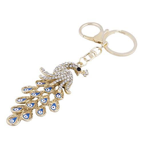 Clockeikan Schöne Frauen Mode-Handtasche Keychain Pfau-Blau-Augen-Form-Diamant überzogene Metall-Schlüssel-Halter für Träger-Auto
