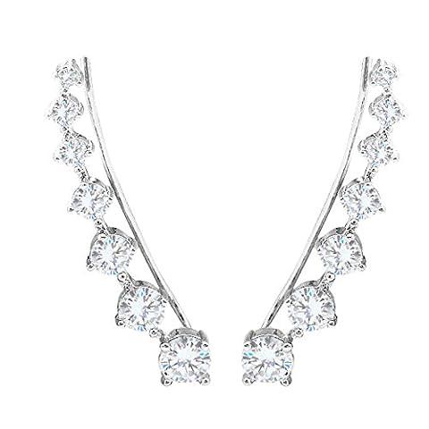 SELOVO Women's Girls 925 Sterling Silver Cuff and Wrap Earrings for Pierced Ear Silver Tone Diamante CZ