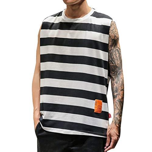REALIKE Herren Tank Top Mode Tankshirt T-Shirt mit Rundhalsausschnitt Unterhemden Streifen Ärmellos Weste Muskelshirt Fitness Oberteile Basic für Männer bis Größe M-5XL -