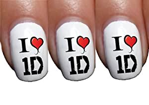1d one direction i heart logo artist music Nail Art Transfer Decal Wrap For False Acrylic Gel or Natural Nails