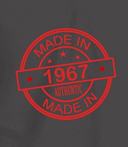 """Geschenk T Shirt zum 50. Geburtstag, Herren: """"Made In 1967"""" Anthrazitgrau"""