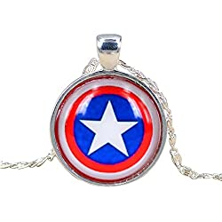 Marvel Capitán América Shield Collar con Plateado Cadena Super Hero Collar
