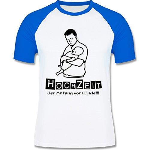 JGA Junggesellenabschied - Hochzeit - Der Anfang vom Ende - zweifarbiges Baseballshirt für Männer Weiß/Royalblau