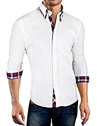 Grin&Bear Slim Fit doppelkragen design karo Hemd Herrenhemd bügelfrei, SH520