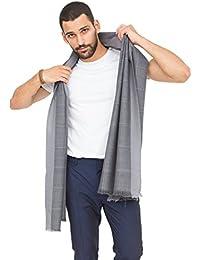 Diamond Weave Textured Merino Wool Scarf Grey