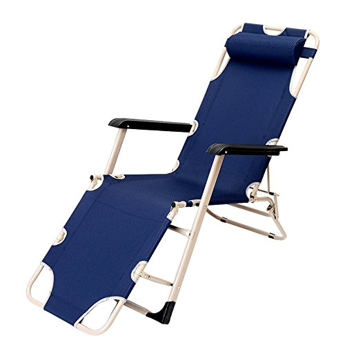 Fauteuils inclinables LHA Chaise Longue de Bureau Chaise déjeuner Pause Glisser lit Simple Chaise de Plage Chaise de pêche en Plein air