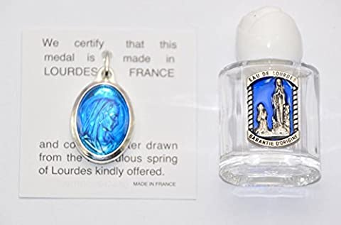 Lourdes Holy Water Pendant Silver Prayer Card + LOURDES BOTTLE OF HOLY WATER