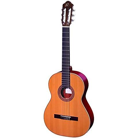 Ortega R200SN - Guitarra de concierto de 4/4 con funda (mástil estrecho: 48 mm, tapa maciza, acabado brillante)