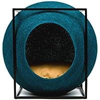 meyou Paris–Le Cube de pluma de pavo real. Cama, abrigo Douillet y griffoir para gatos–Cocon de pluma de pavo real/cojín amarillo/estructura metal negro mate