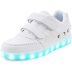 Saguaro Unisex Niños USB Carga LED Luz Luminosas Flash Zapatos Zapatillas de Deporte,Blanco 32