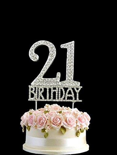 Kristall monogran Happy 21. Birthday Cake Topper Strass mit Silber Bling Kuchen Dekoration Party Happy Birthday (21st Dekorationen Party Birthday)