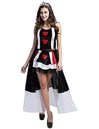 Damen Alice im Wunderland-Queen of Hearts's Masquerade Kostüm, gratis Strümpfe