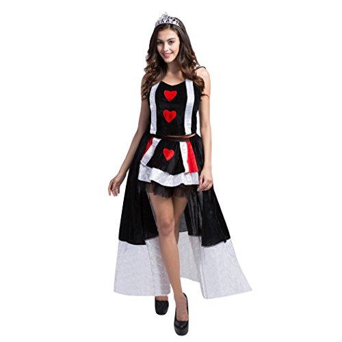 Damen der Königin der Herzen Alice Karten-Anzugs-Kostüm, GRATIS (Herz Kostüme Der Karte Königin)