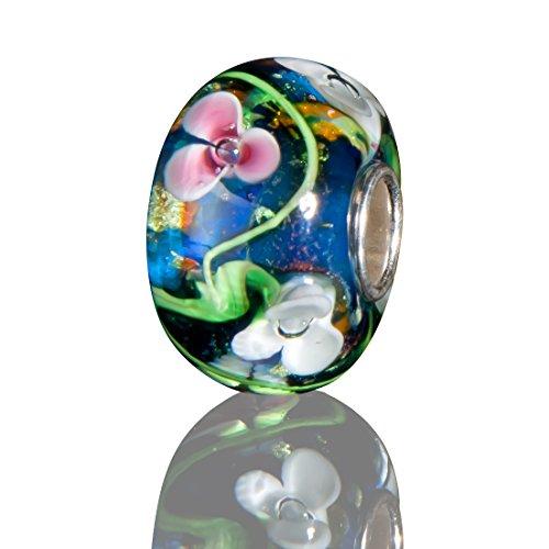 Andante-Stones 925 Sterling Silber Glas Bead Charm SEALIFE (Ozeanblau mit weißen und rosafarbenen Blüten) Element Kugel für European Beads + - Glas Halloween Charms