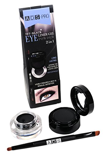ADS Jet Black 2 In 1 Long Lasting /Eye Liner Gel and Powder(A8684-2, Black)